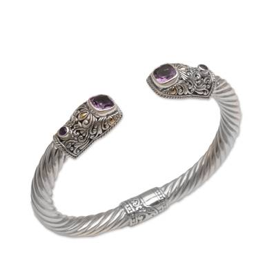 Gold accented amethyst cuff bracelet, 'Barong Crest' - Gold Accented Amethyst Cuff Bracelet from Bali