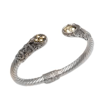 Gold accented sterling silver cuff bracelet, 'Fight for Survival' - Gold Accent Animal-Themed Cuff Bracelet from Bali