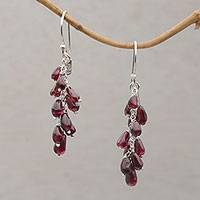 Garnet dangle earrings, 'Grape Branches' - Garnet and Sterling Silver Dangle Earrings form Bali