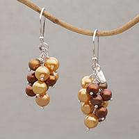 Cultured pearl dangle earrings, 'Gleaming Fruit' - Cultured Pearl Cluster Dangle Earrings from Bali