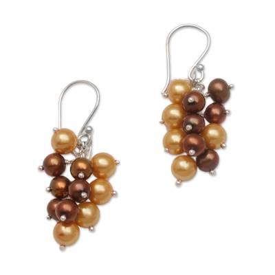 Cultured Pearl Cluster Dangle Earrings from Bali