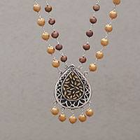 Gold accented cultured pearl pendant necklace, 'Gleaming Rice' - Cultured Pearl Link Pendant Necklace from Bali