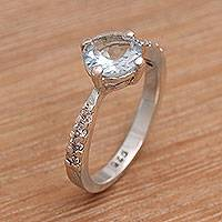 Featured review for Blue topaz solitaire ring, Lakeside Sparkle