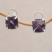 Amethyst stud earrings, 'Lilac Royalty' - Faceted Amethyst Square Stud Earrings from Bali