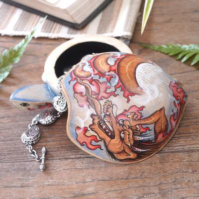 Wood jewelry box, 'Dragon-Hearted Turtle' - Wooden Turtle Jewelry Box with Hand-Painted Dragon Design
