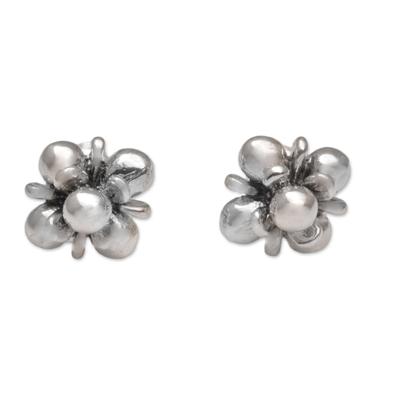 Sterling silver stud earrings, 'Jasmine Shine' - Sterling Silver Jasmine Flowers Stud Earrings from Bali