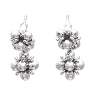 Sterling silver dangle earrings, 'Jasmine Shine' - Sterling Silver Jasmine Flowers Dangle Earrings from Bali