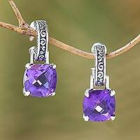 Amethyst dangle hoop earrings, 'Buddha's Curls' - Amethyst and Sterling Silver Dangle Earrings from Bali