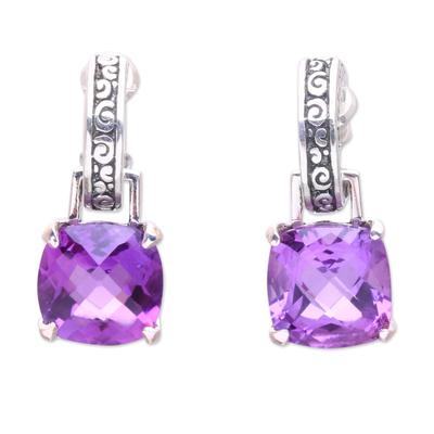 Amethyst dangle earrings, 'Buddha Hoops' - Amethyst and Sterling Silver Dangle Earrings from Bali