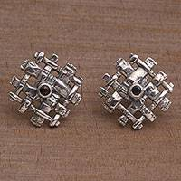Garnet button earrings, 'Bamboo Gates' - Bamboo-Themed Garnet Button Earrings from Bali