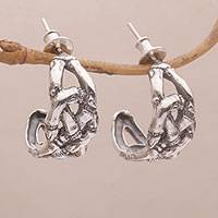 Sterling silver half-hoop earrings, 'Lost in Bamboo' - Bamboo-Themed Sterling Silver Half-Hoop Earrings from Bali