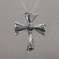 Sterling silver pendant necklace, 'Songket Cross'
