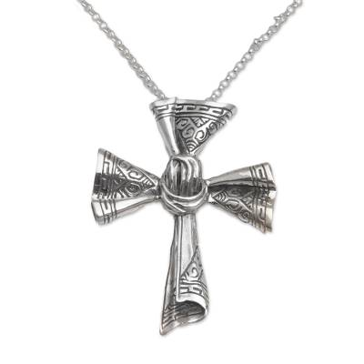 Sterling silver pendant necklace, 'Songket Cross' - Sterling Silver Songket Cloth Pendant Necklace from Bali