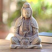 Hibiscus wood statuette, 'Kwan Im Meditation'