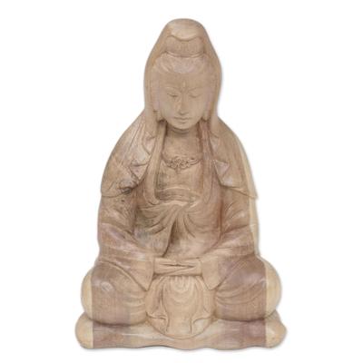 Hibiscus wood statuette, 'Kwan Im Meditation' - Artisan Hand-Carved Kwan Im Meditation Statuette from Bali