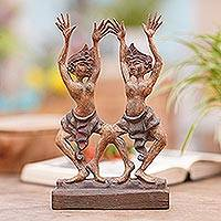 Teakwood statuette, 'Kecak Brothers' - Teakwood Statuette of Ritual Dancers with Antique Finish