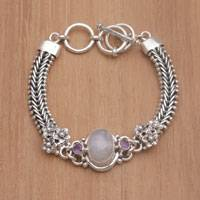 Rainbow moonstone and amethyst pendant bracelet, 'Jepun Glow' - Rainbow Moonstone and Amethyst Pendant Bracelet from Bali