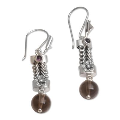 Smoky quartz and amethyst dangle earrings, 'Floral Fascination' - Floral Smoky Quartz and Amethyst Dangle Earrings from Bali