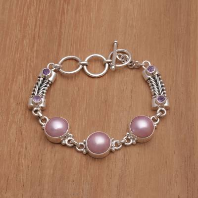 Cultured mabe pearl and amethyst link bracelet, 'Wangi Trio' - Cultured Mabe Pearl and Amethyst Link Bracelet from Bali