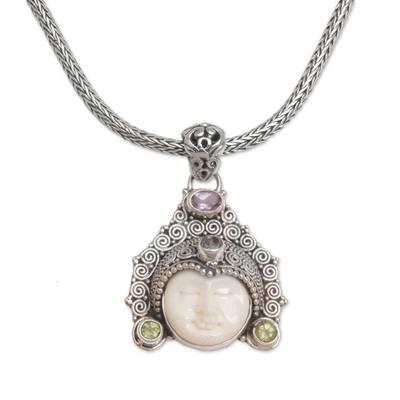 Multi-gemstone pendant necklace, 'Wayan Crown' - Multi-Gemstone Face-Shaped Pendant Necklace from Bali
