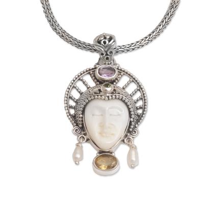 Multi-gemstone pendant necklace, 'Star King' - Multi-Gemstone Star-Themed Pendant Necklace from Bali