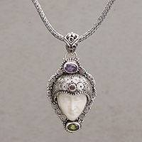 Multi-gemstone pendant necklace, 'Sukawati King' - Multi-Gem Silver Face-Shaped Pendant Necklace from Bali