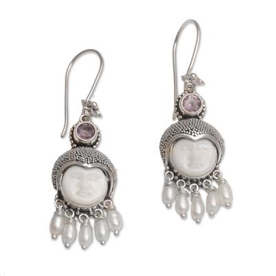 Amethyst and cultured pearl dangle earrings, 'Sunshine Princes' - Amethyst and Cultured Pearl Dangle Earrings from Bali