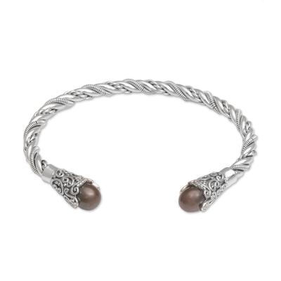Cultured pearl cuff bracelet, 'Jepun Seeds in Brown' - Brown Cultured Pearl Cuff Bracelet from Bali