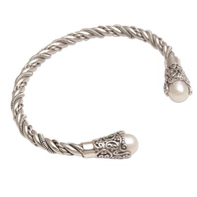 Cultured pearl cuff bracelet, 'Jepun Seeds in White' - White Cultured Pearl Cuff Bracelet from Bali