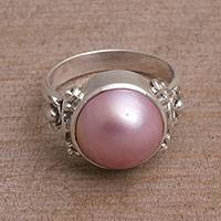 Cultured pearl cocktail ring, 'Jepun Joy' - Floral Pink Cultured Pearl Cocktail Ring from Bali
