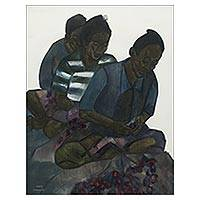 'Peeling Onions' - Expressionist Painting of Women Peeling Onions