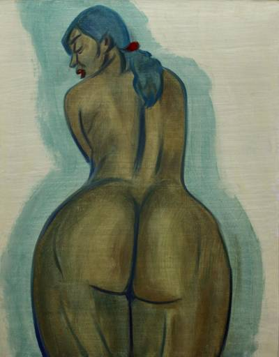 'From Behind' - Javanese Oil Painting of Curvaceous Female Nude