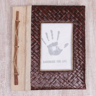 Natural fiber journal, 'Woven Memories in Brown' - Hand-Woven Pandan Leaf Journal with Photo Cover in Brown