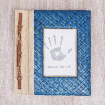 Natural fiber journal, 'Woven Memories in Blue' - Hand-Woven Pandan Leaf Journal with Photo Cover in Blue