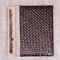 Natural fiber journal, 'Happy Weaver in Brown' - Artisan Hand-woven Pandan Leaf Journal in Brown from Bali