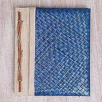 Natural fiber journal, 'Happy Weaver in Blue' - Artisan Hand-woven Pandan Leaf Journal in Blue from Bali