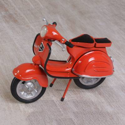 Adorable Mini Brass Vespa Scooter Replica in Orange, 'Orange Vintage Vespa'