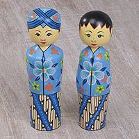 Mahogany toothpick holders, 'Floral Newlyweds' (pair) - Two Cultural Mahogany Toothpick Holders in Blue from Bali