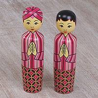 Mahogany toothpick holders, 'Lurik Wedding' (pair) - Two Cultural Mahogany Toothpick Holders in Pink from Bali