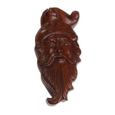 Artisan Hand-Carved Santa Claus Puzzle Box from Bali