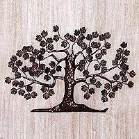 Iron wall sculpture, 'Maple Tree' - Handcrafted Wrought Iron Tree Wall Sculpture from Bali