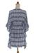Rayon caftan, 'Candi Dasa Lady' - Navy and White Hand-Stamped Ikat Caftan from Bali (image 2c) thumbail