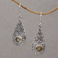 Citrine dangle earrings, 'Temple Teardrops' - Citrine and Sterling Silver Dangle Earrings from Bali