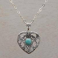 Sterling silver pendant necklace, 'Heart of Celuk' - Elegant Sterling Silver Heart Pendant Necklace from Bali