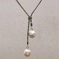 Sterling silver lariat necklace, 'Celuk Orbs' - Handmade Sterling Silver Orbs Lariat Necklace from Bali