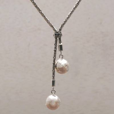49ee1f3677f Handmade Sterling Silver Orbs Lariat Necklace from Bali - Celuk Orbs ...