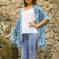 Tie-dyed rayon shawl, 'Bluest Dye' - Greenish-Blue Handmade Tie-Dyed Shawl with Fringe Indonesia