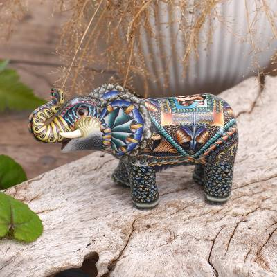Polymer clay sculpture, 'Vibrant Baby Elephant' - Handcrafted Polymer Clay Elephant Sculpture from Bali