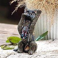 Polymer clay sculpture, 'Begging Cat' - Handcrafted Colorful Polymer Clay Cat Sculpture from Bali