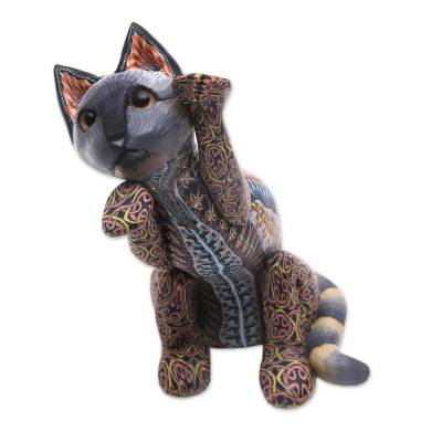 Handcrafted Colorful Polymer Clay Cat Sculpture from Bali